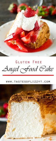 This Gluten Free Angel Food Cake is simple to make with a blend gluten free flours. It's lightly sweetened, low-fat and delicious served with fresh fruit. gluten free desserts / gluten free recipe