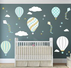 Enchanted Interiors Nursery Wall Art Decor Hot Air Balloon & Kites Scene Colour Scheme: Turquoise, Silver and Gold Up, Up & Away, Hot Air Balloon & Kites Nursery Wall Sticker Scene featuring colourful balloons, kites,stars and clouds. Bring your childs nursery room alive with