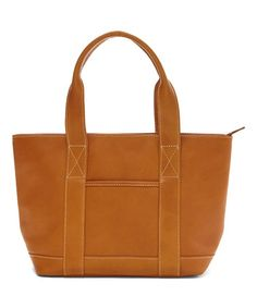 Another great find on #zulily! Tan Leather Trapezoid Tote #zulilyfinds