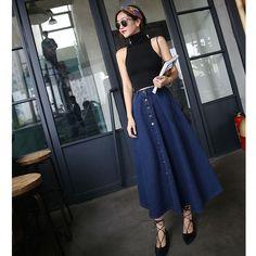 Autumn Winter Girl Skirt Jeans Pleated Skirts Women Casual Loose Denim Skirts High Waist Button Vintage Long Denim Jeans Skirts