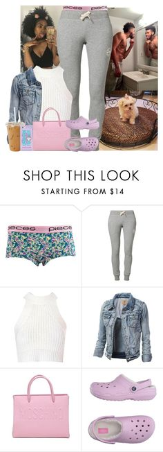 """""""💕"""" by jemilaa ❤ liked on Polyvore featuring Pieces, Puma, Glamorous, Moschino, Crocs and Forever 21"""