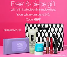 New bonus time in the United Kingdom - spend £45 or more on Clinique.co.uk and receive this exclusive Marimekko bag with 6 Clinique favourites.