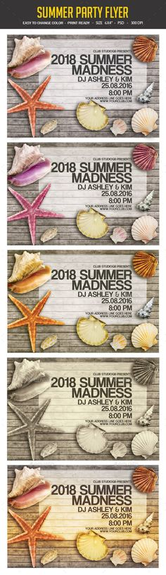 """Summer Party Flyer Summer Party Flyer A unique party flyer, invitation design for your next party. The final package you download includes a fully layered, renamed, grouped PSD file. Print dimensions:6x4""""   .25"""" bleed Features:Images are Smart Objects Easy editable text CMYK @ 300 DPI �20Print-ready 100 scalable Perfectly Aligned Open in All CS Version Organised laye"""