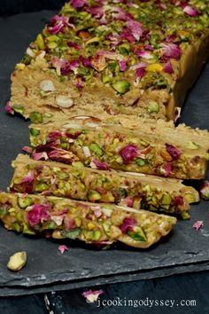 Jagruti's Cooking Odyssey: Rose Pistachio Sesame Tahini Halva /Halvah via Sandra Angelozzi Indian Dessert Recipes, Greek Recipes, Indian Sweets, Middle Eastern Desserts, Vegetarian Recipes, Cooking Recipes, Delicious Desserts, Food And Drink, Favorite Recipes