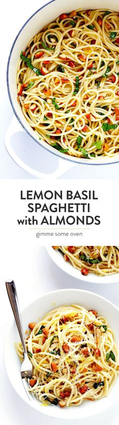 Lemon Basil Spaghetti with Almonds -- quick and easy to make, full of zesty garlic lemon flavor, and topped with a sprinkle of Parmesan. So delicious!   gimmesomeoven.com