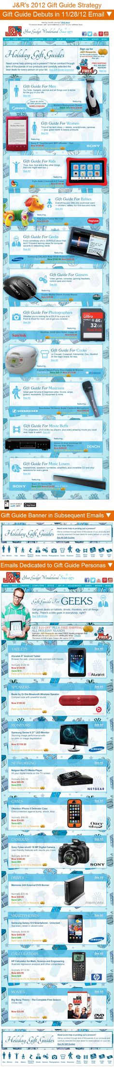 J & R >> sent 11/28/12 >> Introducing Our 2012 Holiday Gift Guides >> J & R's holiday emails featured their gift guides extensively. They debuted them in this email, promoted them in a banner at the bottom of subsequent emails, and dedicated several emails entirely to some of the gift guide personas. —Anna Meier, Design Consultant, ExactTarget