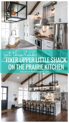 Go For An Industrial Farmhouse Vibe By Recreating This Look In Your Kitchen Using Inspiration From The Fixer Upper Little Shack On The Prairie Kitchen Featured On Remodelaholic.com Industrial Farmhouse, Fixer Upper, Backsplash, Kitchen Remodel, Kitchen Design, Kitchens, Kitchen Cabinets, Inspiration, Decor