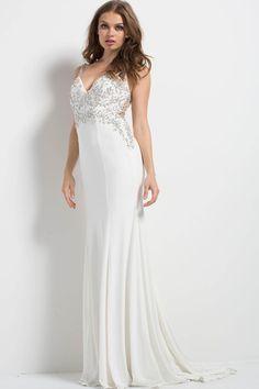 e5e033b768 Jovani - Embellished Deep V-neck Dress 48947 in White
