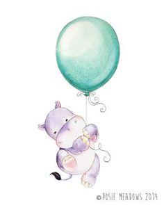 Guardería acuarela arte. Impresión de hipopótamo de chica. Decoración de pared de habitación de niños. Imprimir acuarela hipopótamo vivero