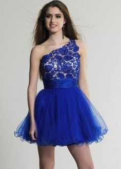 Sale Sapphire Lace Top One Shoulder Tulle Homecoming Dress