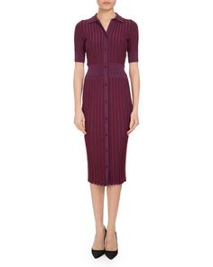 Olivia+Short-Sleeve+Knit+Polo+Dress,+Pink+by+Altuzarra+at+Neiman+Marcus.