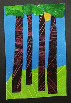 Cut paper landscapes (2nd grade)