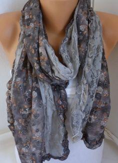 Grey Floral Scarf Shawl Cowl Scarf - Bridesmaid Gift Ideas Women Fashion  Accessories f2aafe3fdfa0