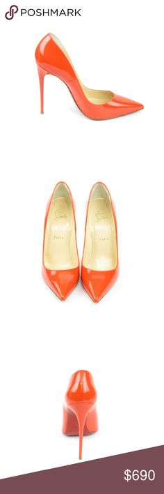 So Kate Papaya Patent Calf Leather Pumps (Sku 58) We offer both new and pre-owned luxury designer shoes. All shoes have been cleaned and sanitized with revolutionary ozone and UVC technology, killing and preventing fungus, bacteria and odor. We own our entire inventory and all designer shoes have be authenticated, sanitized and restored.   Brand New Christian Louboutin Shoes Heels