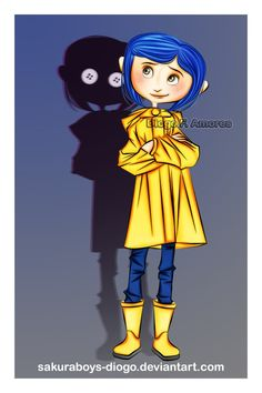 Coraline (take reference from another drawing) and then her shadow, peeking out from behind her (make sure it looks evil) Tim Burton Kunst, Tim Burton Art, Tim Burton Style, Tim Burton Films, Coraline Jones, Coraline Drawing, Coraline Tattoo, Laika Studios, Character Art