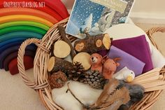 Playful Storytelling: A Story Basket for One Snowy Night - One Perfect Day Winter Activities, Book Activities, Percy The Park Keeper, Book Baskets, Letters For Kids, Wrens, Preschool Literacy, Waldorf Education, Nature Table