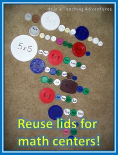 Save math lids and turn them into centers! This is a great way to review basic math facts in Kindergarten, 1st, 2nd, 3rd, 4th, 5th, or 6th grade. You can create addition, subtraction, multiplication, or division lids to be used for math centers, review, early or fast finishers, and more!