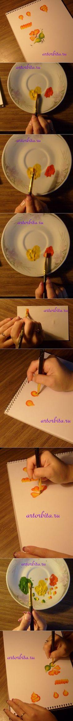 How to Draw Flowers with Double Loaded Brushstroke   www.FabArtDIY.com LIKE Us on Facebook ==> https://www.facebook.com/FabArtDIY