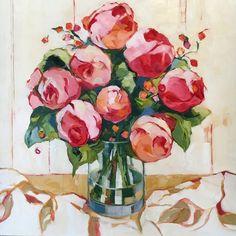 "Pretty in Pink, oil on canvas, 24x24"" Beth Munro"