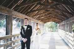 A Bridal First Look on a Covered Log Bridge | Anastasia Photography | See More! http://heyweddinglady.com/luxe-snowy-winter-wedding-from-ana...