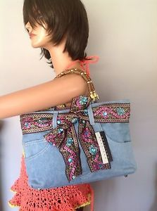 Jeans Denim Bag Purse Braciano Beaded Bohemian Hop Chic Carved Handles Gold | eBay