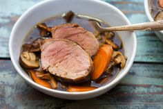 Tonight I made Roasted Pork Tenderloin with Porcini Broth! Recipe in the comments! [OC] [5616  3744] #foodporn #food #foodie #yummy #yum #foodgasm #nomnom #delicious #recipe