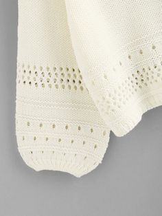 To find out about the Eyelet Insert Lantern Sleeve Sweater at SHEIN, part of our latest Sweaters ready to shop online today! Casual Sweaters, Cable Knit Sweaters, Jumpers For Women, Sweaters For Women, Crochet Baby Boots, Summer Knitting, Neck Pattern, Knit Patterns, Pulls