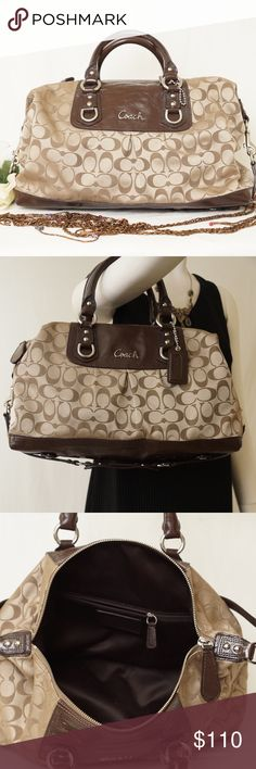 🤗COACH F15440 ASHLEY OP ART BAG 🤗COACH F15440 Signature Leather & Sateen LARGE BROWN Satchel Shoulder Bag🎀Stunning! Gently used, exterior is very good condition; corners have slight worns. Only 3 hardly noticable small marks on the front and side, please see pictures. Interior is excellent, no stains. Convertible. Lots of pockets inside. Pet smoke free home.  SILVER HARDWARE❣️ AUTHENTIC❣️LEATHER ❣️FAST SHIPPING!  ❣️MAKE AN OFFER  Please see my other listings🌺💞😍 Coach Bags Shoulder Bags