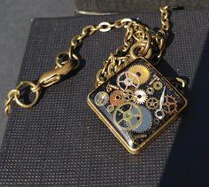 Timeless Steampunk Pendant  small black diamond