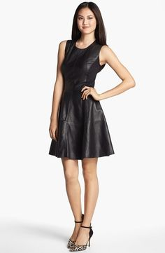 Halogen Back Zip Leather & Ponte Dress  in {productContextTitle} from {brandTitle} on shop.CatalogSpree.com, your personal digital mall.