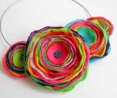 Collares - Collar collar hecho a mano Flores - hecho a mano por TinyArt en DaWanda
