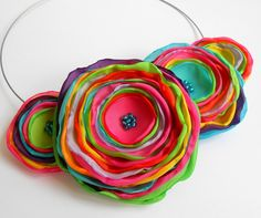 Colliers – Flowers necklace handmade necklace – a unique product by TinyArt on DaWanda
