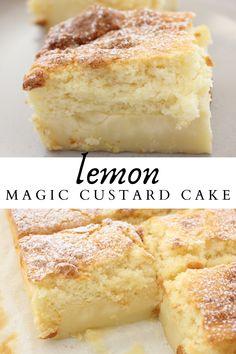 Lemon Magic Cake Recipe, Magic Cake Recipes, Lemon Dessert Recipes, Custard Recipes, Easy Cake Recipes, Sweets Recipes, Just Desserts, Baking Recipes, Sweet Custard Recipe