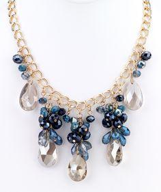 Teardrop Statement Necklace - Blue