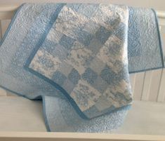 Baby Quilt featuring Summertime Toile in Baby Blue and White Baby Boy Quilt Patterns, Nursery Patterns, Baby Boy Quilts, Crochet Blanket Patterns, Baby Blanket Crochet, Crochet Baby, Quilting Patterns, Irish Crochet, Quilting Ideas