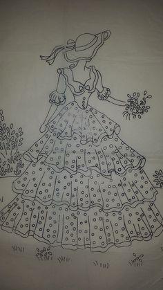 Vintage Robin Crinoline Lady Embroidery Transfer Pattern 8100 2