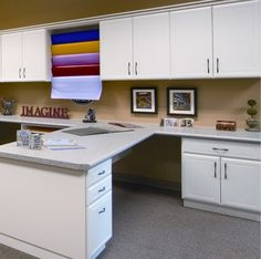 craft room cabinets - like the end cabinet, with just the countertop as a work space.  can run it around the whole side of the wall - Yahoo! Search Results