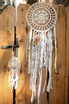 custom crochet doily or lace dream catcher by HCDD on Etsy, $19.99.  A surprisingly cool idea.
