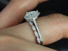 Rosados Box Tabitha & Christie White Gold Pear FB Moissanite and Diamonds Halo Wedding Set