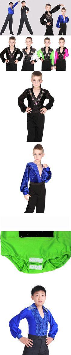 b5786b523475a Child Ballroom Dance Tops Boys Latin Dance Shirt Leotard Stage   Dance Wear  For Boys