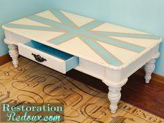 Blue Union Jack Coffee Table http://www.restorationredoux.com/?p=5501
