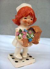Vintage Goebel Red Head NURSE FLOWER BABY BASKET Figurine Germany