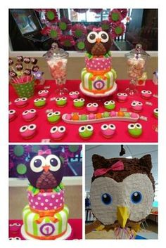 Cake and cupcakes at an Owl Party #owlparty #cake