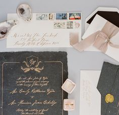 Best Wedding Invitations of 2016: Romantic Shipwreck-Inspired Calligraphy Wedding Invitations with Deckled Edges by Poste and Co.