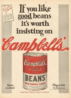 1925 Campbell's Soup Co Camden NJ Pork & Beans Canned Food 20s Kitchen Decor Ad