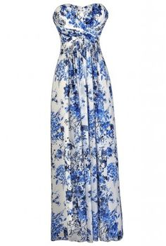 Blue and Ivory Floral Print Maxi Dress