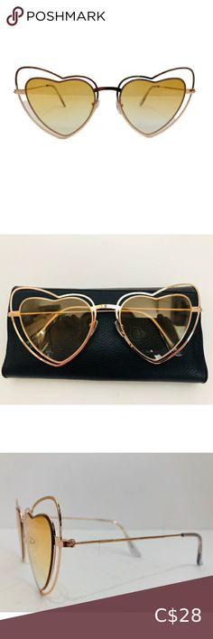 Lolita Style Sunglasses Heart Shape Frames Brown Lenses by London Design