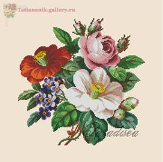 """Berlin woolwork pattern """"Bouquet of camellias"""" / Cross stitch pattern / PDF / Needlepoint / Tapestry / Beadwork - Berlin woolwork pattern Bouquet of camellias Cross Stitch Rose, Simple Cross Stitch, Cross Stitch Flowers, Cross Stitch Embroidery, Embroidery Patterns, Easy Cross, Hand Embroidery, Vintage Bouquet, Cross Stitch Designs"""