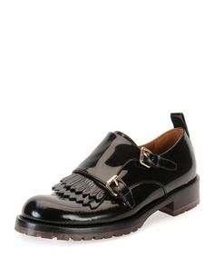 Double-Monk Patent Loafer, Black by Valentino at Neiman Marcus.
