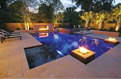 Fire pit area design ideas 8 outdoor fireplace and fire pit design ideas luxury pools outdoor Luxury Swimming Pools, Luxury Pools, Swimming Pools Backyard, Swimming Pool Designs, Pool Landscaping, Lap Pools, Indoor Pools, Dream Pools, Design Patio